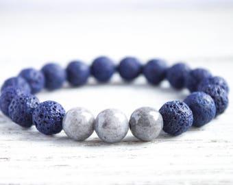 Mens Beaded Bracelet Man Lava Rock Bracelet Gray Bracelet Boyfriend Bracelet Distance Bracelet Men Blue Bead Sister Bracelet Girlfriend Gift