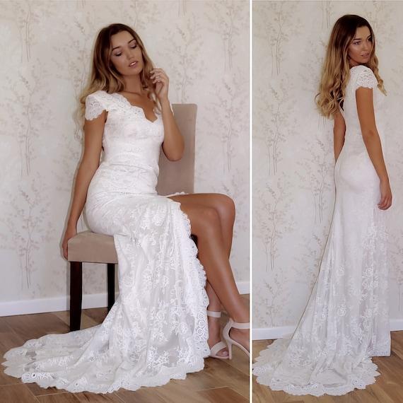 Boho Hochzeitskleid / Hochzeit Kleid / Spitze Hochzeitskleid /