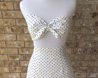 "Handmade White Navy Polka Dots Retro Poplin Playsuit Slim High Waisted Shorts Bandeau Set Rockabilly Vintage Pinup Waist 25""-28"" 30A-34C"