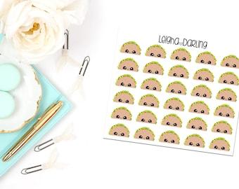 Kawaii Taco Night/Food Planner Stickers