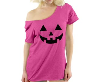 Jack O' Halloween Pumpkin Off The Shoulder Shirts T Shirts Tees Halloween Funny Easy Costume