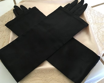 "Vintage 50's ""OPERA LENGTH GLOVES"" by Superb Size Small 3 Button Feature in Jet Black"
