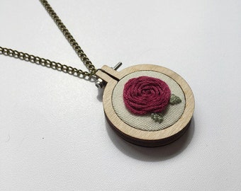 Red Rose Mini Embroidery Hoop Chain Necklace
