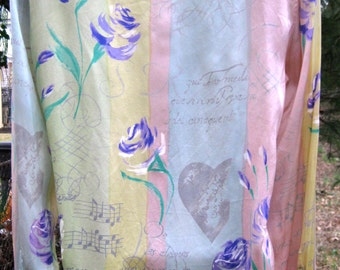 ESCADA MUSIC Notes with Roses SILK blouse, size 34, silk pastel yellow, pink, blue gray and purple with composer notes and hearts, Size 34