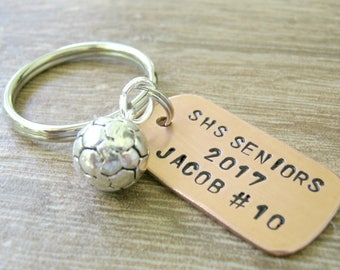 Personalized SOCCER Team gifts, Soccer keychains, soccer players, athletic banquet gifts, senior soccer, graduating seniors, choose sport