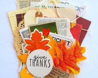 Autumn Mini Paper Pack / 20 Pieces / Vintage & New  / Fall Ephemera Pack