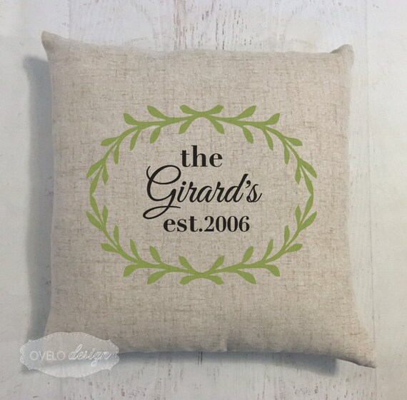 Custom Last Name Linen Style Pillow Wedding Gift