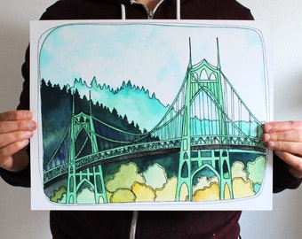 Art Print - Portland Art - St Johns Bridge Illustration - Portland Art Print - Print of St Johns Bridge - 11x14 Print  - St Johns Bridge