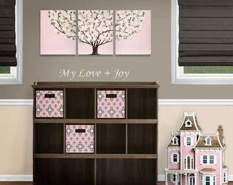 Painting Original Art for Baby Girl Nursery Pink and Brown Tree Canvas Triptych - 35x14
