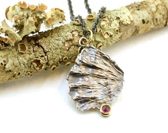 Garnet Rhodolite and Diamond Pendant Sterling Silver 18k Gold Fan Lichen Recycled Metal Nature Jewelry