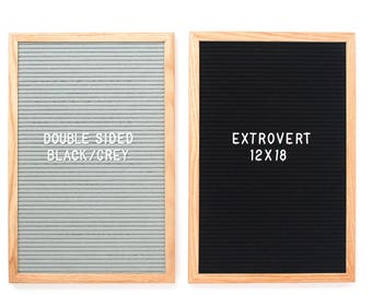 """Double-Sided 12 x 18"""" Grey/Black Extrovert Letter Board - Oak Frame with Grey/Black Felt and 300+ Characters"""
