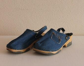 Childrens Shoes Blue Shoes Blue Denim Clogs Girls Shoes Denim Shoes Kids Shoes