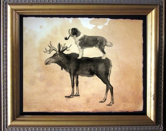 St. Bernard Dog Riding Moose - Vintage Collage Art Print on Tea Stained Paper -  dog art - dog gifts -- father's day gift- graduation gift