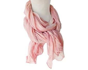 Blush scarf, bridesmaid gift, blush chiffon, pink silk scarf, pink chiffon scarf, blush wedding scarf, pink wedding scarf, best friend gift
