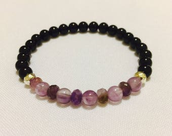 Amethyst and Tourmaline Bracelet