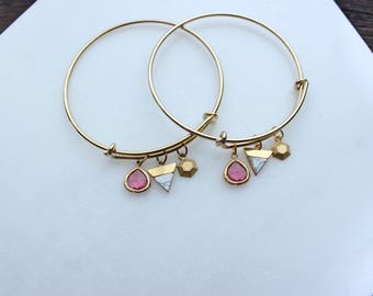 Fuchsia, Marble & Gold Stackable Bracelet