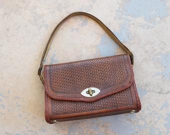 vintage 50s Tooled Leather Purse - 1950s Western Purse Convertible Handbag Shoulder Bag