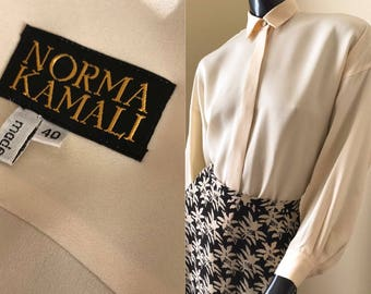 80's Norma  Kamali Cream Silk Blouse, Oversized Blouse with Dolman Sleeves, Vintage Silk Crepe Blouse - size Eu 40