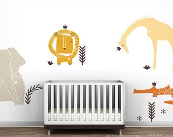 Royal Safari Wall Decal Mural by LittleLion Studio. Yellow, Orange Wall Decal Set. Baby Room Wall Decor