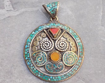 Tibetan Sterling Silver Pendant with Turquoise Mosaic Inlay, Amber and Carnelian