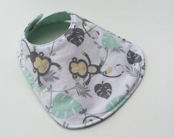 Reversible Baby Bib for Baby Boy - Monkey baby Bib - Baby Bib - Gender Neutral - Monkey Bib - Baby Boy