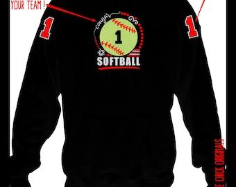 Softball Team Hoodie, Softball Mom Hoodie, Softball Player Hoodie, Softball Team Gift, Softball Mom Gift