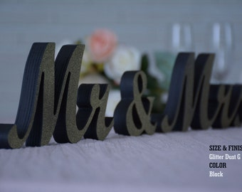 Mr & Mrs Wood Wedding Decoration, Glitter, Mr and Mrs Wedding Photo Prop, Glitter Mr and Mrs