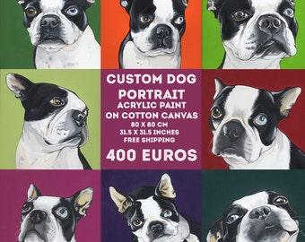 Benutzerdefinierte Hund Portrait / 80 x 80 cm