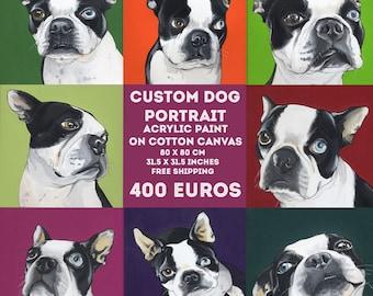 Custom Dog Portrait / 80x80 cm