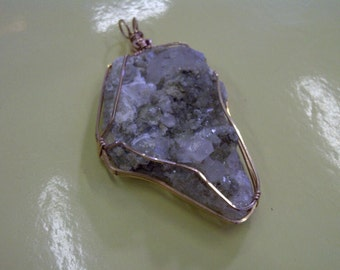 Druzy Calcite Pendant Wrapped in Bronze Wire