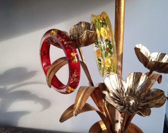 Lot of 2 bangle flower bracelets 1940