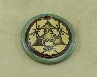 """Blue Butterfly Disk Pendant - Three Butter Fly Motif with Ivory and Mocha Brown - Clay River Designs 1 1/4"""" Diameter I ship Internationally"""