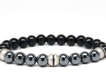 Black Onyx and Hematite Beaded Mens Bracelet - DT129