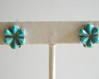 Vintage Sterling Silver Light Blue Turquoise Tear Drop Flower Clip On Earrings