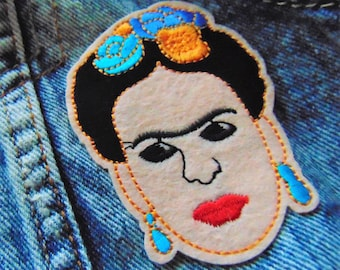 Frida Kahlo de Rivera Sew Iron on Embroidery Patch Famous Mexican Bisexual Female Artist Custom Embroidered Floral Clothing Decoration UK
