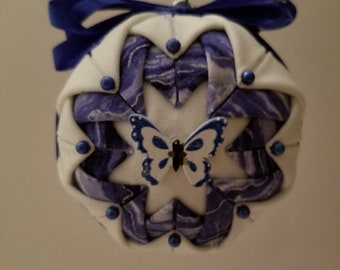 Blue & White folded fabric handmade ornament with blue and white butterfly