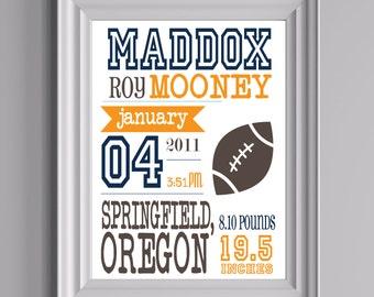 "Customized Football Theme Nursery Print - 8""x10"" - LOVELY LITTLE PARTY"