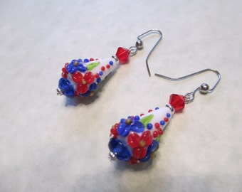 Patriotic Red, White and Blue Cone Lampwork Earrings
