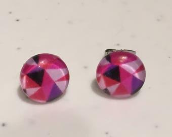 10MM Dark Pink Geometric Stud Earrings
