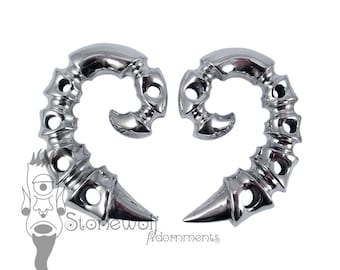 Pair of 925 Silver Spinal Ear Weights for Stretched Lobes