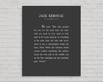 Jack Kerouac Metal Print, Jack Kerouac Quote, Jack Kerouac, Metal Sign, The only people for me are the mad ones, On the Road