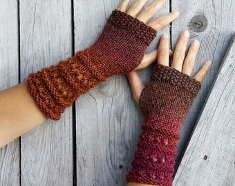 Fingerless Gloves Long Knitted Mittens Womens Arm Warmers Winter Wrist Warmers Warm Hand Knit Gloves Wool Cozy Knit Gloves GRANNY'S Gift Her