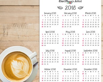 2018 Calendar Planner Stickers   Monthly Planner Stickers   Annual Planner Stickers (FP-012)