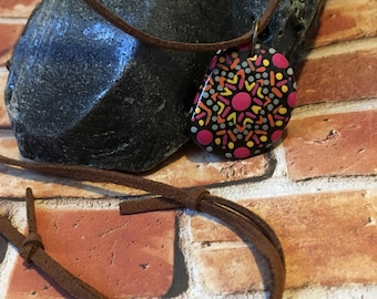 Hand Painted Stone Pendant Necklace