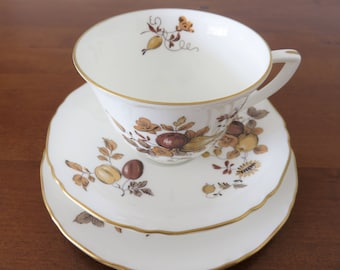 Royal Worcester Golden Harvest trio, fine bone china teacup saucer and side plate, gold and brown fruit flower pattern