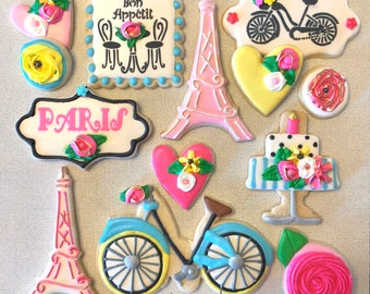DECORATED  custom cookies in PARIS vacation theme.  Birthdays, retirement, fundraisers, gala and more