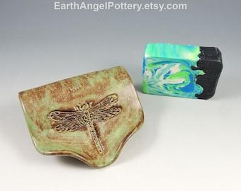 Ceramic Soap Dish ~ Soap Saver ~ Soap Dish Pottery ~ Dragonfly Texture Self Draining Soap Dish ~ Handmade Soap Dish ~ In Stock