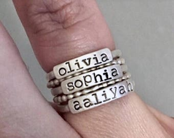 3mm Sterling Silver Stackable Name Rings - Personalized Stacking Rings - Stacker Rings - Personalized Rings - Sterling Stacker Rings