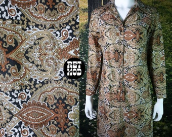 Lovely Vintage 70s Brown, Beige & Black Paisley Shirt Shift Dress