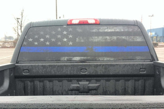 Thin blue line rear window graphic perf decal from digitalrhinowraps on etsy studio